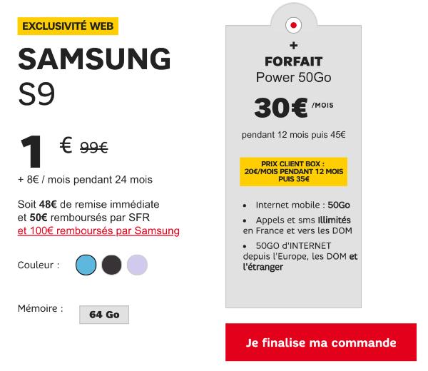 Vente flash SFR Samsung Galaxy S9 pas cher