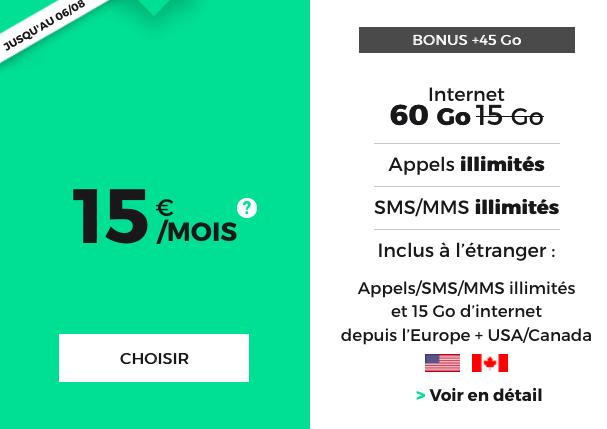 RED by SFR et son forfait mobile doté de 60 Go pour 15€/mois.
