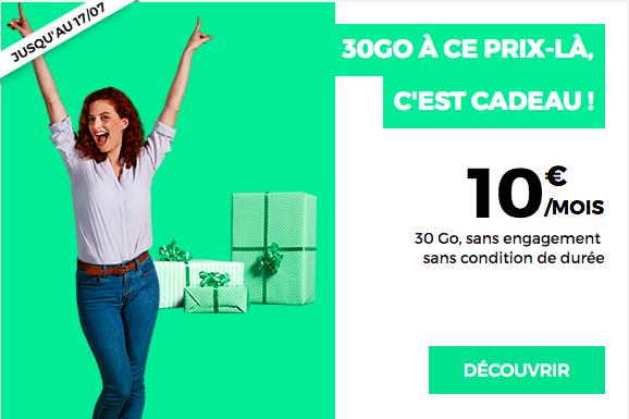 Le forfait RED 30 Go à 10€ de RED by SFR.