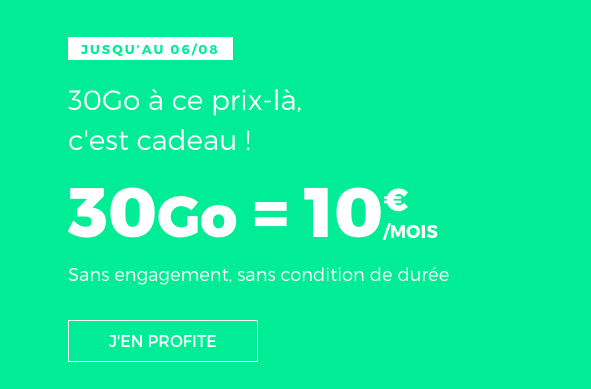 Le forfait mobile RED by SFR 30 Go.