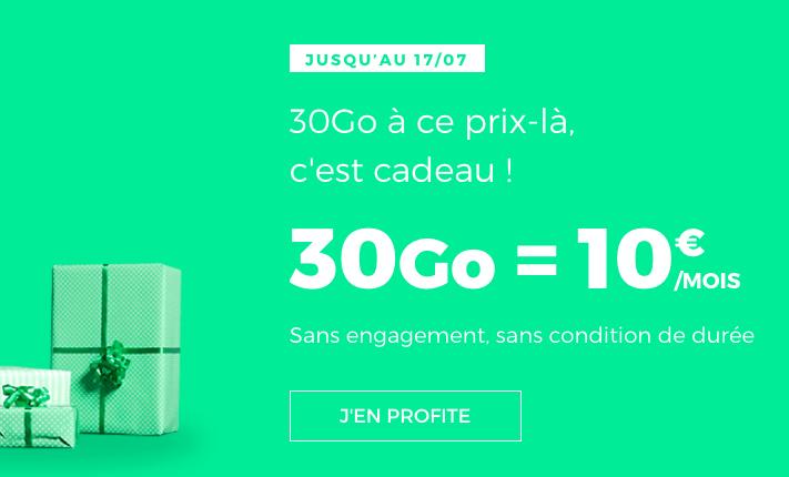 La promo sur le forfait RED 30 Go de RED by SFR.