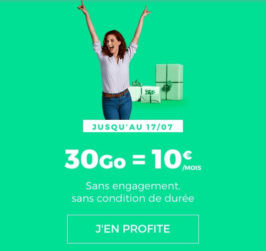 30 Go pour 10€/mois chez RED by SFR avec le forfait mobile.