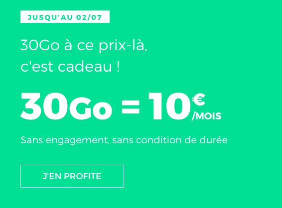 Forfait mobile de RED by SFR à 19€/mois.