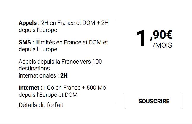 Le forfait pas cher de Syma Mobile pour 1,90€ par mois.