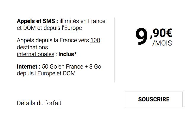 Le forfait mobile de Syma Mobile : 50 Go en 4G pour 9,90€ mensuels.