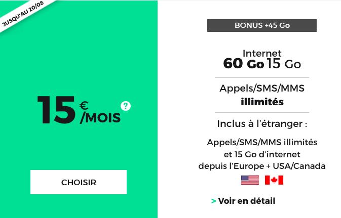 Le forfait mobile sans engagement, à vie, de RED by SFR avec 60 Go en 3G 4G.