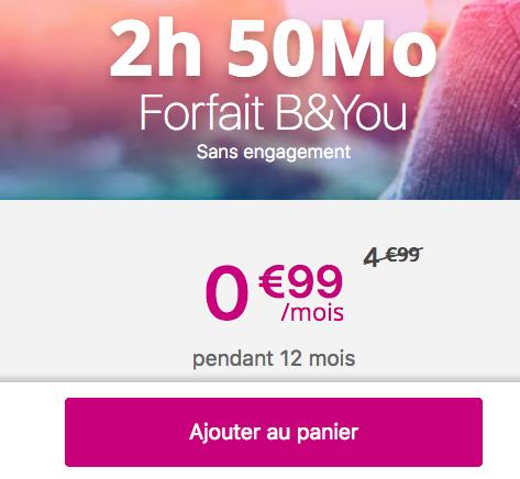 Un forfait avec 50 Mo en 4G et 2 heures d'appels disponibles chez la filiale de Bouygues Telecom, B&YOU.