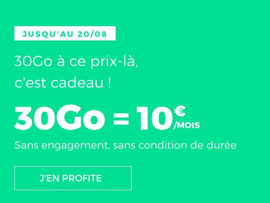 Pas cher le forfait mobile de RED by SFR avec 30 Go pour 10€/mois.