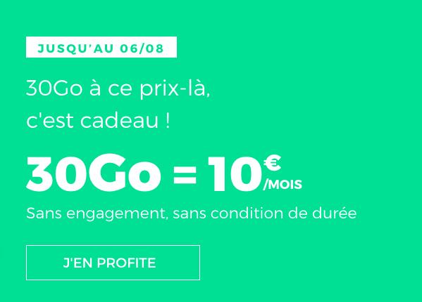 Le forfait pas cher de RED by SFR pour 10€par mois.