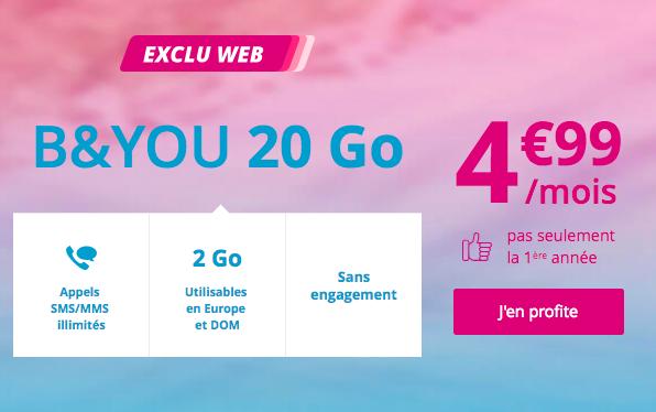 L'abonnement 20 Go à 4,99€ de B&YOU.