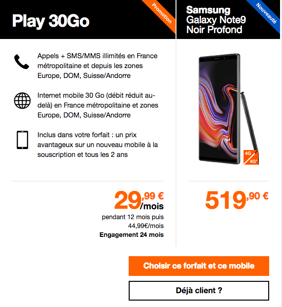 Le Galaxy Note9 avec Orange.