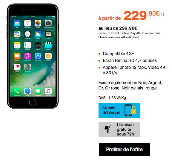 Un iPhone 7 dès 229,90€ avec Orange.