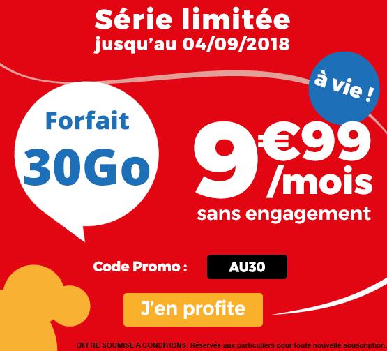 Le forfait pas cher d'Auchan Télécom, disponible à vie avec 30 Go en 4G.