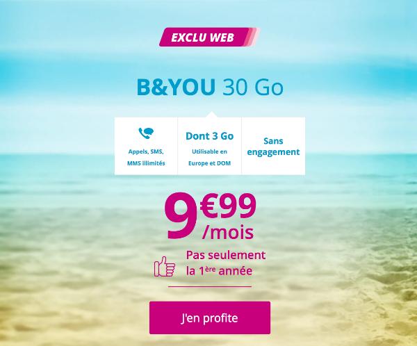 Forfait mobile B&YOU 30 Go 4G pas cher Bouygues Telecom