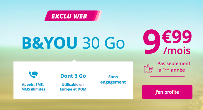 le forfait B and YOU 30 Go en promo