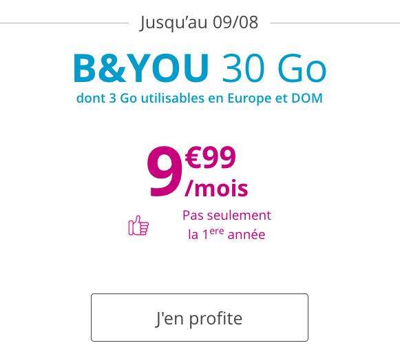 Bouygues Telecom et le forfait B&YOU 30 Go en 4G en promotion.