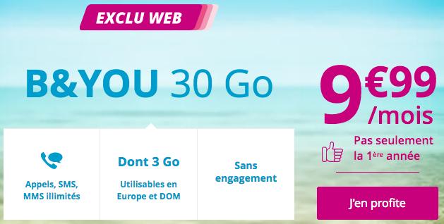 Bouygues Telecom et le forfait B&YOU avec 30 Go en 4G, sans engagement, pas cher, et à vie.