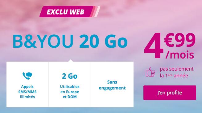 Le forfait pas cher de Bouygues Telecom, sans engagement et à vie.