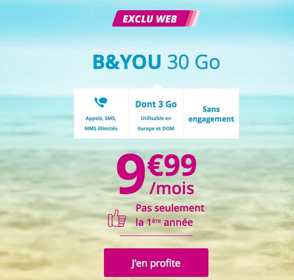 Bouygues Telecom et le forfait pas cher B&YOU 30 Go, disponible à vie.