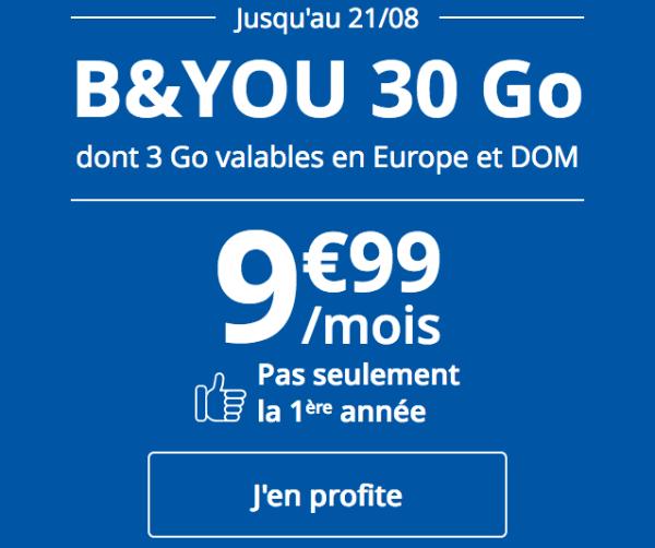 Forfait mobile B&YOU 30 Go promotion chez Bouygues Telecom