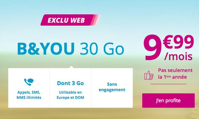 Le forfait pas cher avec 30 Go en 4G chez B&YOU, filiale de Bouygues Telecom.