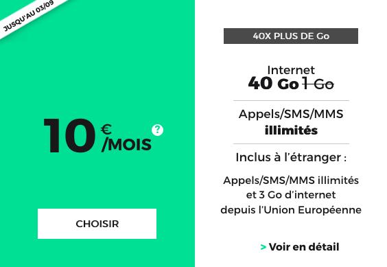 RED by SFR propose un forfait pas cher avec 40 Go d'Internet.