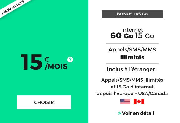 un forfait pas cher doté de 60 Go d'Internet 4G chez RED by SFR.