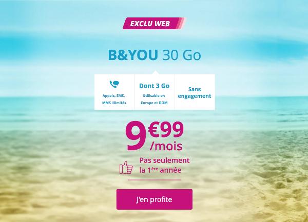 Forfait mobile B&YOU 30 Go pas cher