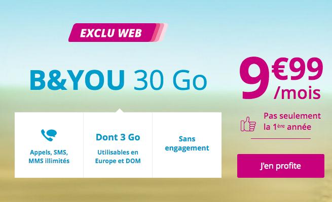 Le forfait pas cher de B&YOU, filiale de Bouygues Telecom, avec 30 Go.