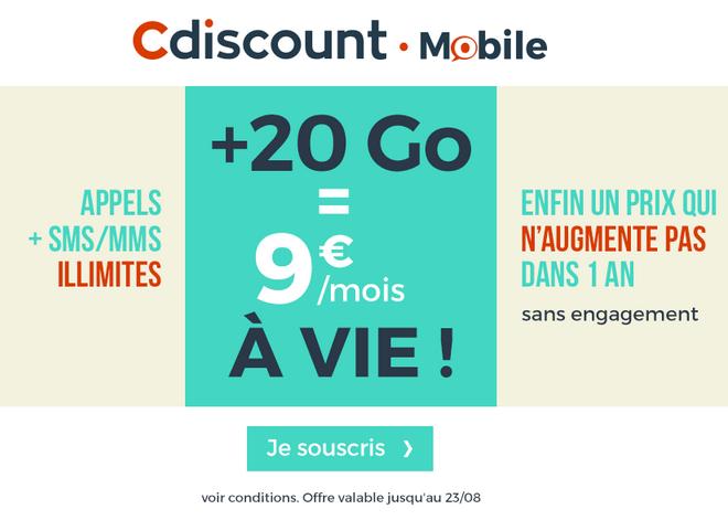 Cdiscount Mobile et le forfait pas cher avec 20 Go en 4G en promotion.