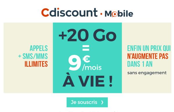 Cdiscount Mobile 20 Go de 4G pas cher.