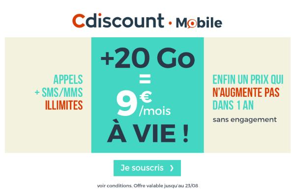 Cdiscount Mobile promotion forfait 20 Go 4G.