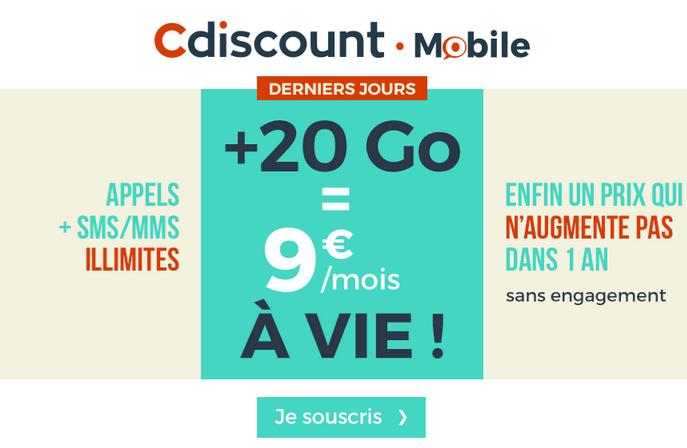 Le forfait pas cher garanti à vie de Cdiscount Mobile avec de la 4G sur 20 go.