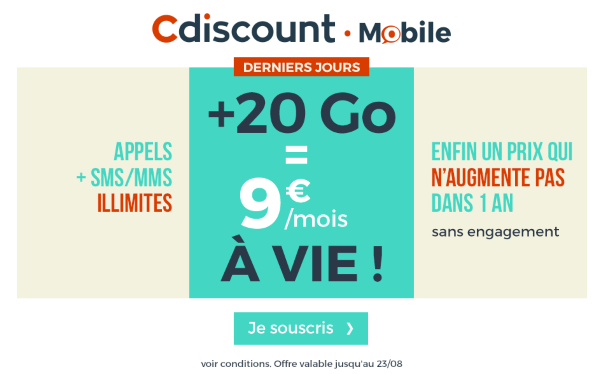 Promotion forfait mobile 20 Go Cdiscount Mobile.