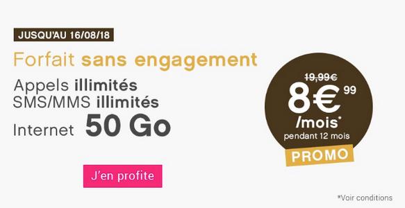 Forfait pas cher de Coriolis Telecom avec 50 Go d'Internet en 4G.
