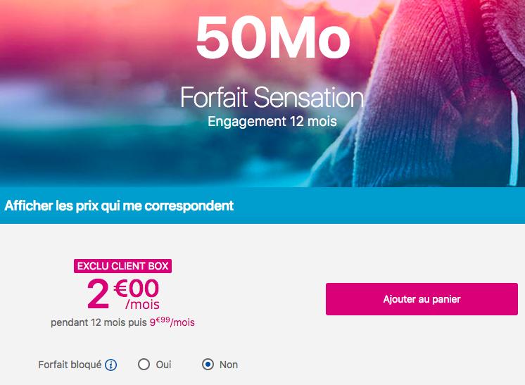 Le forfait à 2€ de Bouygues Telecom.