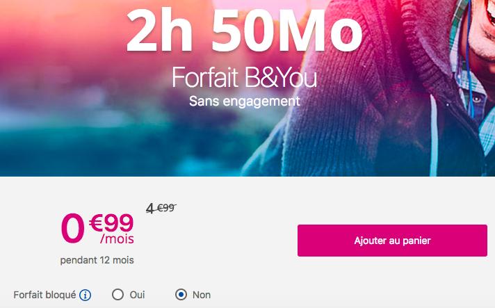Le forfait 2h 50 Mo B&YOU de Bouygues Telecom