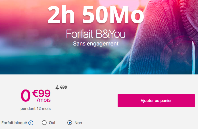 Le forfait mobile B and YOU 50 Mo