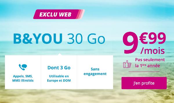 Forfait mobile B&YOU 30 Go pas cher en promotion.