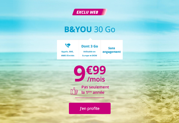B and YOU forfait mobile 4G pas cher