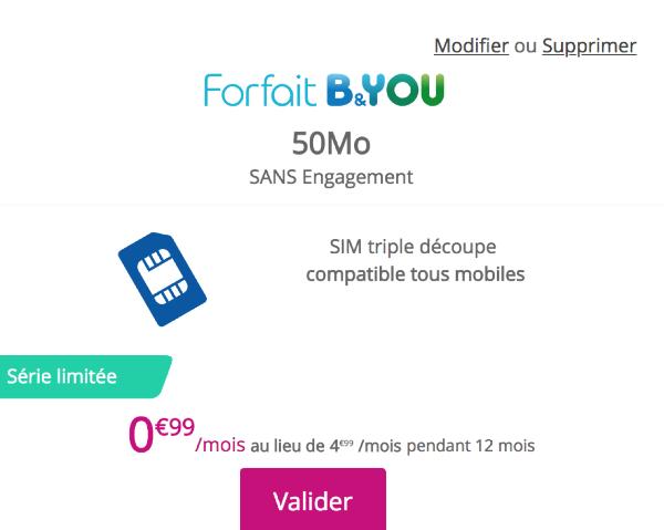 Forfait mobile bloqué B&YOU promotion