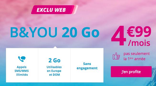 Le forfait B&YOU en promo à 4,99€