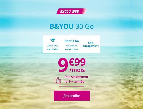 B&YOU 30 Go forfait mobile illimité pas cher.