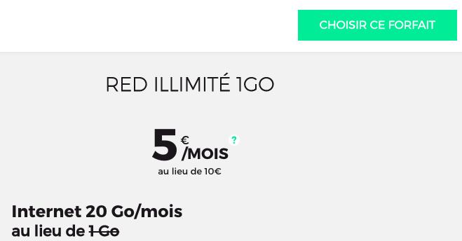le nouveau forfait RED by SFR à 5€ par mois
