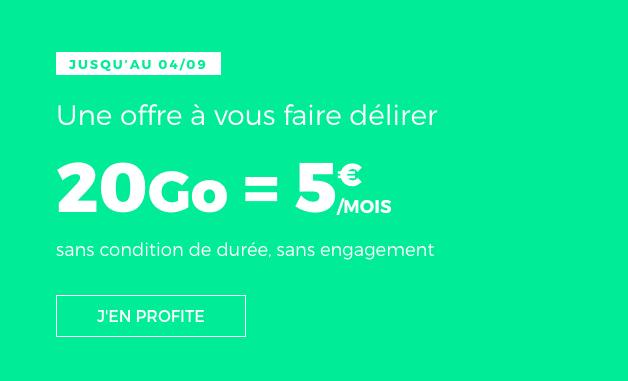 Le forfait 20 Go en promo de RED by SFR