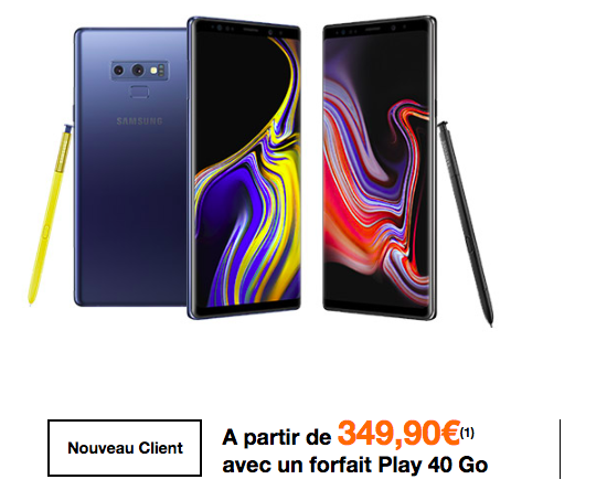 Le Samsung Galaxy Note9 avec un forfait Orange.