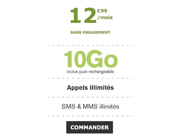 Le Poste Mobile 10 Go 4G pas cher forfait mobile illimité.