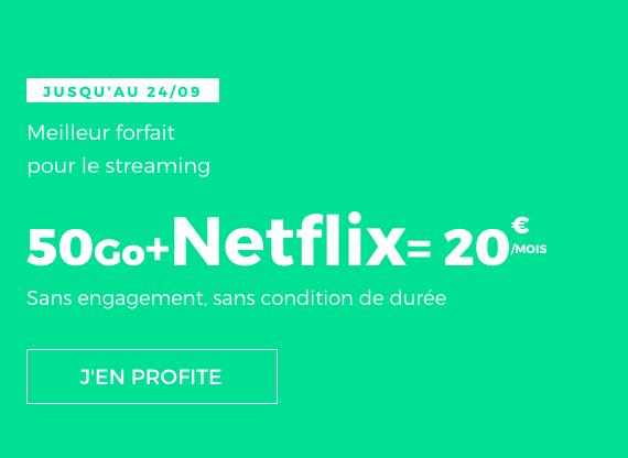 Netflix ou pas, le forfait sans engagement avec 50 Go en 4G 3G de Netflix est avantageux.
