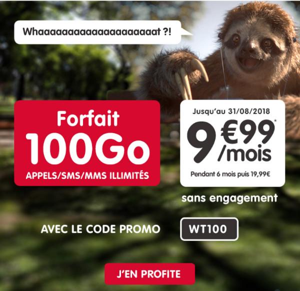 NRJ Mobile forfait mobile 100 Go 4G pas cher.