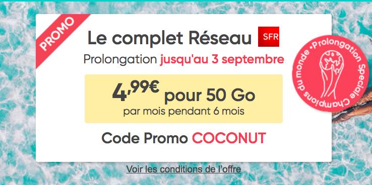 Le code promo COCONUT pour le forfait pas cher de Prixtel.